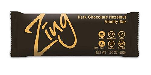 Chocolate Hazelnut Bar (Zing Nutrition Bar, Dark Chocolate Hazelnut, (Pack of 12), Non-GMO Snack Bar for Optimum Energy, Gluten & Soy Free, Plant-Based Protein)