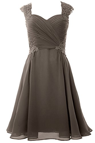 MACloth Pewter Women Formal Wedding Short Sleeve Party Gown Dress 2017 Cocktail Cap rrwPxq4a