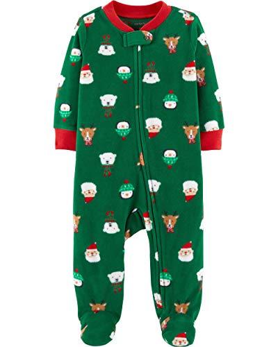 Carter's Baby Boys' 1-Piece Baby Christmas Fleece Pajamas (24 Months), Green]()