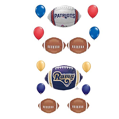 14 Piece New England Patriots vs Los Angeles Rams Balloon Bouquet Super Bowl Birthday Party Decorations]()