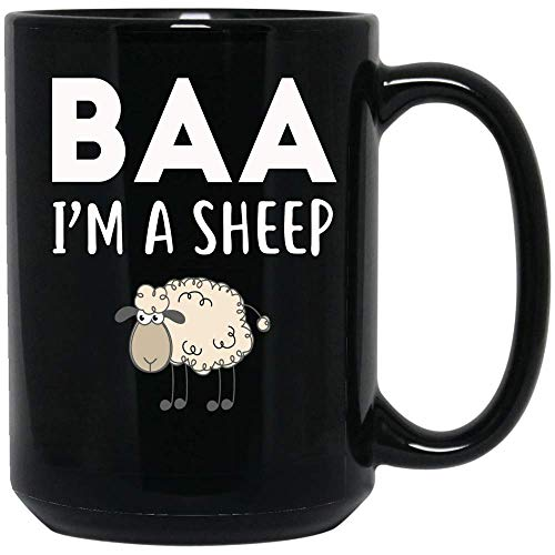 Coffee Mug Baa I'm A Sheep Coffee Mug Lazy Halloween Easy Costume Coffee Mug Ceramic (Black, 15 OZ)]()