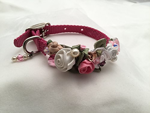 10 Inch Long, 3/8 Inch Wide, Wine Nylon Dog Collar Adorned with Swarovski Crystal Chain, Beads, Pearls, and Silk Rosettes. (Rosette Wine)