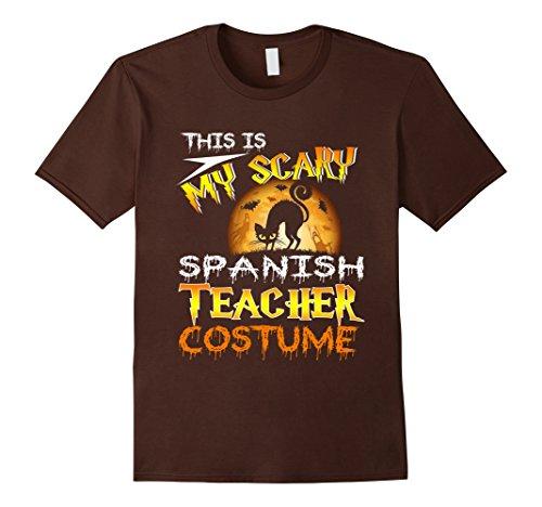 Mens My Scary Spanish Teacher Costume Shirt Cat Moon Halloween 2XL Brown