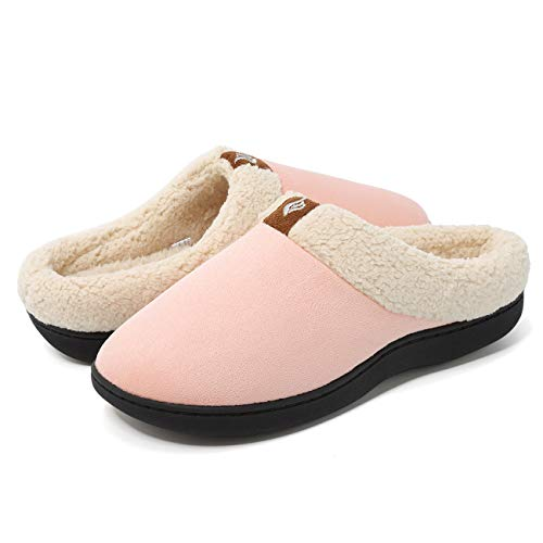 Suede Clog Microfiber (CIOR Fantiny Women's Memory Foam Slippers Suede Wool-Like Plush Fleece Lined Slip-on Clog Scuff House Shoes Indoor & Outdoor-U118WMT024-pink-38.39)