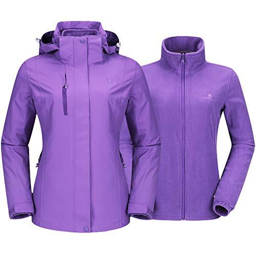 Camel Outdoor Jacket Women Winter Ski Jacket Windbreaker 3 in 1 Waterproof Hooded Rain Coat for Traveling Climbing Hiking 2.0 Purple