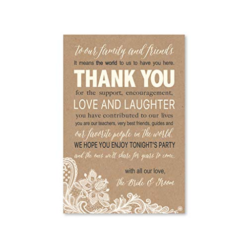 50 Wedding Kraft Thank You Place Cards, Rehearsal Dinner Thank You Table Sign, Menu Place Setting Card Notes, Placement Thank You Note Favors For Family & Guests -