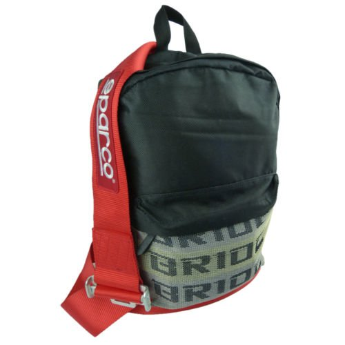 Bride JDM Racing Backpack Racing Harness Shoulder Straps Zipper Pockets w Padded Computer Compartment (Red Sparco Nylon Pack) (Takata Racing Harness compare prices)