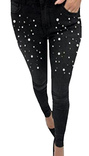 MLG Women Skinny Rhinestone Cowboy Button Closure Harem Pant Black 28