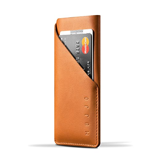 Mujjo Leather Wallet Sleeve compatible with iPhone XS / X, 2-3 Card Pocket, Slim Fit Design, Japanese Suede Lining (Tan) (Mujjo Leather Iphone Case Wallet)