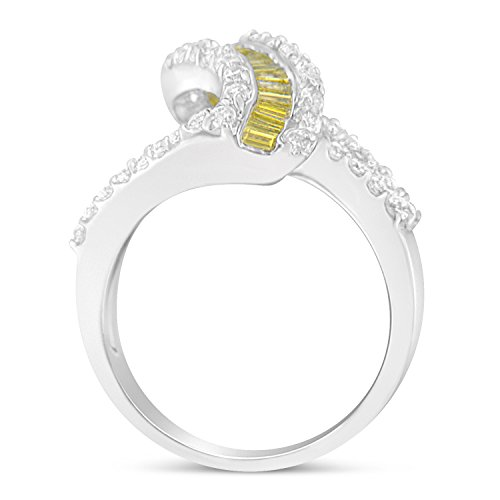 14K White Gold Treated Yellow Baguette and Round Diamond Swirl Ring (1.5 cttw, Yellow Color, I1-I2 Clarity) Baguette Diamond Swirl Ring