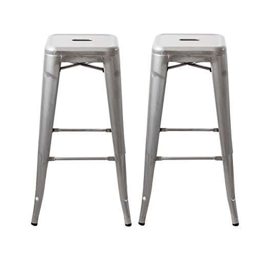 Buschman Galvanized Indoor and Outdoor Metal Counter Barstools, Sturdy/Stackable Vintage Tolix Style Chair, 30' H, Set of 2