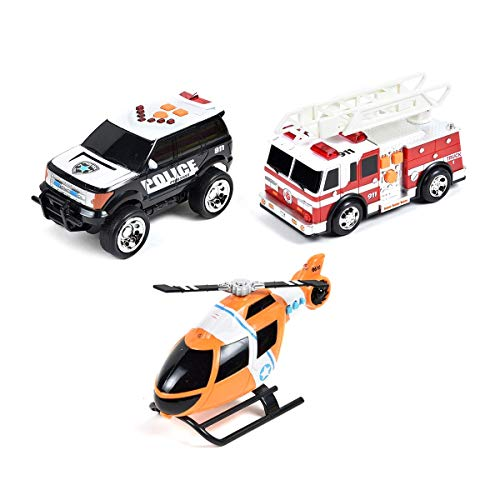 (Maxx Action Light and Sound Rescue Vehicles 3-pack (Colors & Styles May Vary))