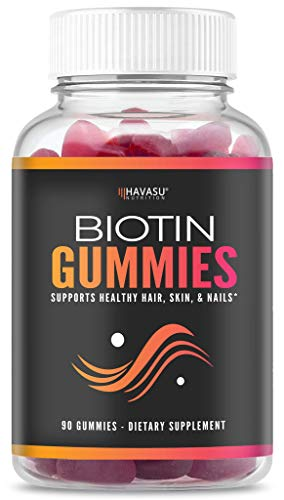 (Havasu Nutrition High Potency Biotin Gummies - Natural Hair, Skin, Nail & Metabolism - 5000 mcg, Premium, Non-GMO, Pectin-Based, 90)