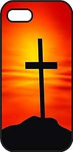 iphone 5 5S case - Jesus Christ Cross - Black Plastic Protective Case - Bible Inspirational & Motivational Verse