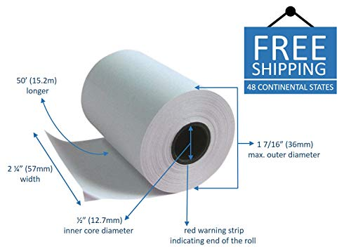 "2-1//4/"" x 50/' THERMAL WIRELESS PoS RECEIPT PAPER 36 ROLLS  ** FREE SHIPPING **"