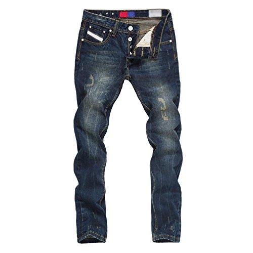 Casual Stretch Blanc Yiiquanan Moto Hommes Slim 1 Vintage De Jeans Straight Pantalons Fit Denim ZqaEvqr