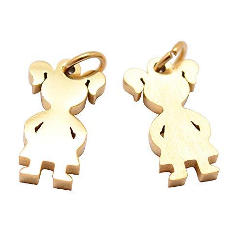 PH PandaHall 20PCS Stainless Steel Pendant Girl Silhouette Charm Pendant Dangle Jewellery Accessory for Women Men -