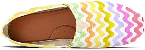 TIZORAX - Mocassini da donna con strisce colorate ondulate, comode, casual, in tela, per barca, taglia 3