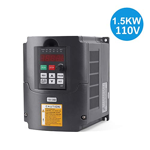 VFD 1.5KW/110V 3hp Variable Frequency Drive CNC VFD Motor Drive Inverter Converter for Spindle Motor Speed Control (1.5KW/110V) ()