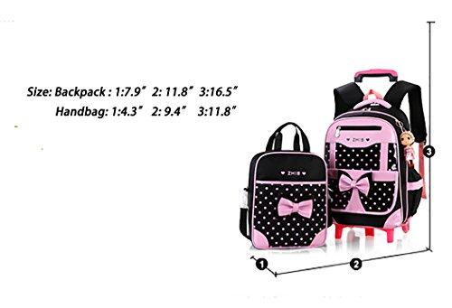 9ff9acd6af1f Meetbelify Rolling Backpacks For Girls School Bags Trolley Handbag With  Lunch Bag Six Wheels Red