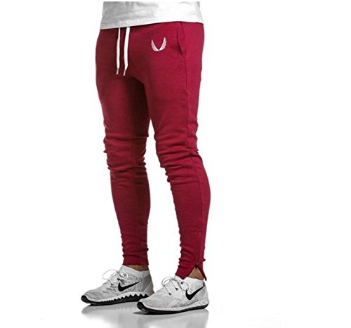 EVERWORTH Men's Joggers Pants Gym Sport Training Pants Fitness Running Trousers With Zipper Pockets and Adjustable zippered ankles