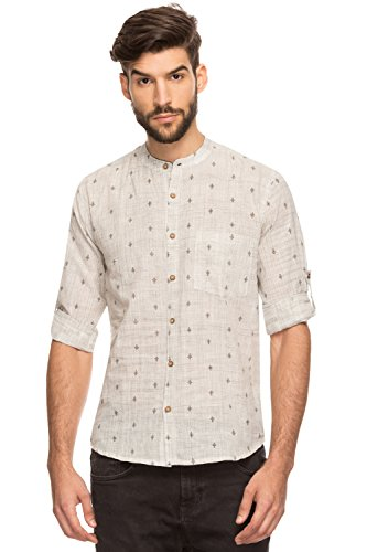 Shatranj Men's Indian Band Collar Shirt Tunic Textured Space Dye And Micro Print; Charcoal; LG by Shatranj
