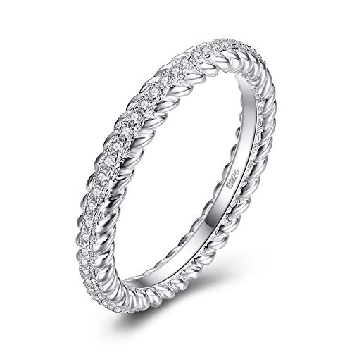 JewelryPalace Prong Set CZ Pave 0.3ct Cubic Zirconia Rope Shape Wedding Band Anniversary Eternity Ring 925 Sterling Silver size 8 ()