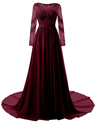 Kevins Bridal Long Evening Gown 2017 Sheer Long Sleeves Lace A line Prom Dresses Burgundy Backless Size 18W (Del Mar Lace)