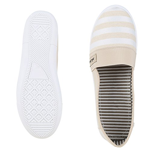 napoli-fashion - Mocasines Mujer Creme Gestreift