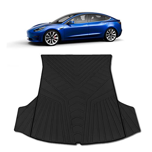 Cargo Mat Model - T1A TruBuilt 1 Automotive Tesla Model 3 Trunk Mat - All Weather Waterproof Black Cargo Protection | Fits 2017 2018 2019 | Heavy Duty & Odorless Eco-Friendly Latex Material by HEA