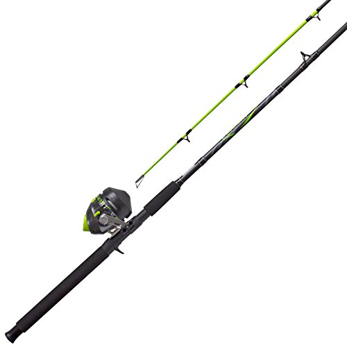 - Zebco/Quantum BCATSC702MH, 20, NS4 Zebco/Quantum, Big Cat Spincast Combo 2.6: 1 Gear Ratio, 7' 2Piece Rod, 8-17 lb Line Rating