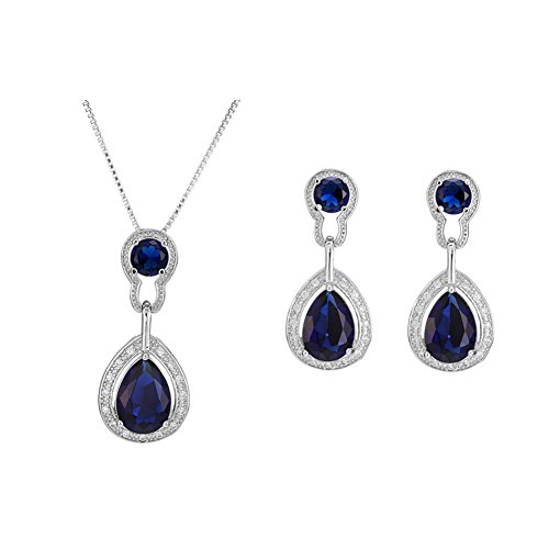 bromrefulgenc Elegant Pretty Woman Earrings,Stud Earrings for Girls,Elegant Guitar Drop Rhinestones Necklace Earrings Eardrop Wedding Jewelry Set - Blue ()