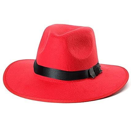 Women ladies Cotton wide brim hat women black hat women fedora hat Blend  Jazz Felt Fedora Cap Wide Brim Bowler Trilby Panama Hat (Red) - - Amazon.com 6ff46be3466