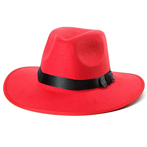 Women ladies Cotton wide brim hat women black hat women fedora hat Blend Jazz Felt Fedora Cap Wide Brim Bowler Trilby Panama Hat (Red)