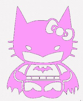 Hello Kitty Batgirl Batman Decal Vinyl Sticker|Cars Trucks Vans Walls Laptop| PINK |5.5 in|CCI435
