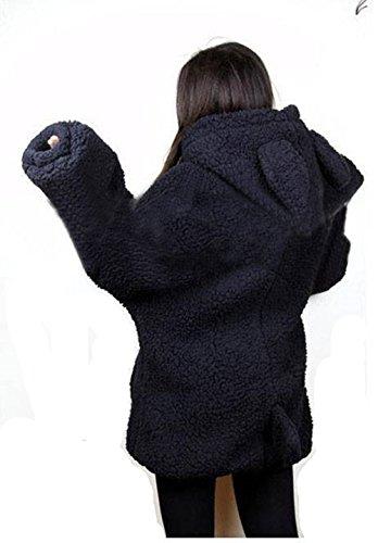CUSTOME mujer Linda Suelto Oído La sudadera con capucha de la chaqueta de los Hoodies del ipper Outwear negro