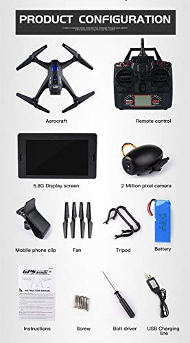 MOZATE X191 Quadcopter 2.4GHz 720P HD Camera WiFi FPV GPS Fixed Point Drone (Black) by MOZATE (Image #6)