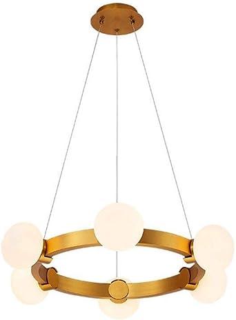 TZZ Latón lámpara de araña de cristal anillo nórdica luz