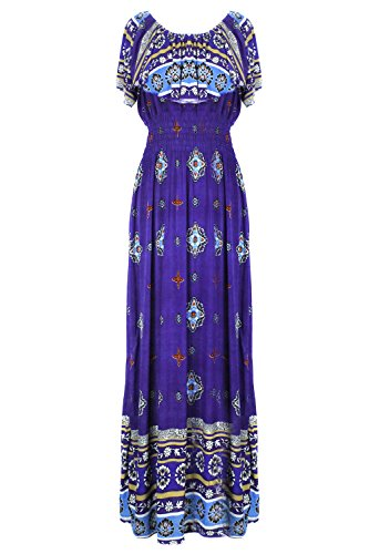 G2 Chic Women's Spring Printed Patterned Summer Maxi Dress Plus And Regular Sizes(DRS-MAX,RYBA2-2X) (Purple Leopard Print Thigh Highs)