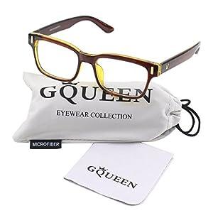 GQUEEN 201584 Modern Fashion Rectangular Bold Thick Frame Clear Lens Eye Glasses,Brown Gold