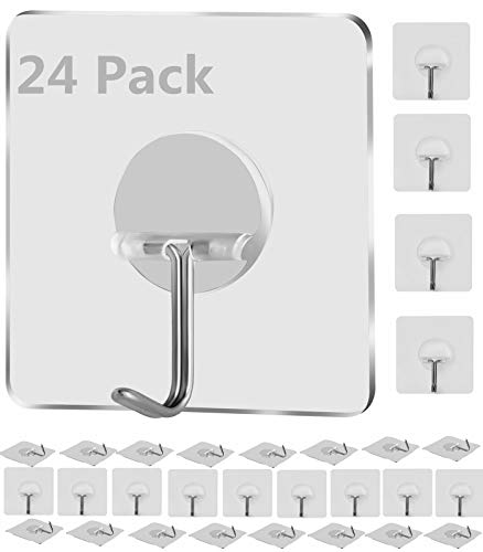 Bagail Adhesive Hooks,Reusable Nail Free Kitchen Wall Hooks,Heavy Duty 13lb(Max) Sticky Wall Hooks,Seamless Waterproof Utility Bath Ceiling Hooks