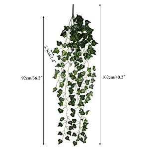 HO2NLE 6 Feet 4PCS Artificial English Ivy Leaves Greenery Garland Fake Hanging Plants Faux Foliage Garden Wall Stairway Party Wedding Outside Decorations 7