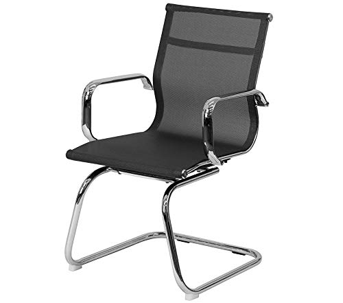 (Wood & Style Office Home Furniture Premium Transparent Black Mesh Side Reception Chair with Chrome Sled Base)