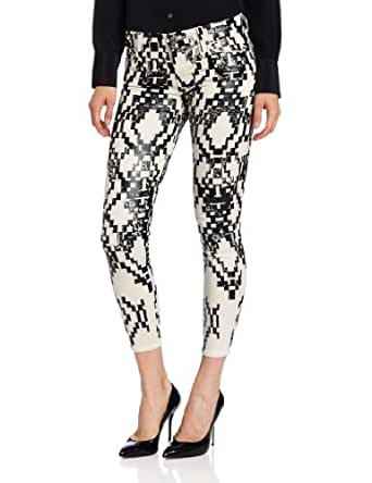 7 For All Mankind Women's The Cropped Skinny Jean in Ethinc Geo Black, Ethnic Geo Black with Dip Dye, 24