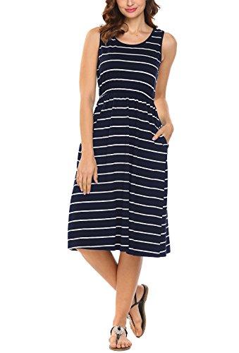 Hount Women's Summer Sleeveless Striped Empire Waist Loose Midi Casual Dress with Pockets (Navy Blue, Medium) ()