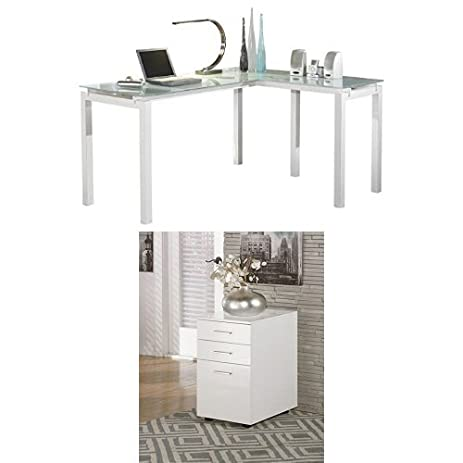 Ashley furniture signature design baraga glass home office desk with file cabinet white