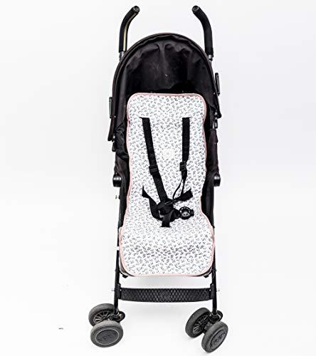 Beecozie - Forro universal para cochecito de bebe (algodon suave y transpirable) rosa Jardin de flores rosa