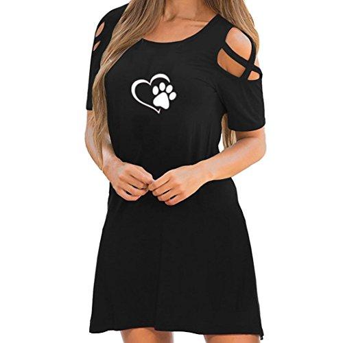 Women Casual Dresses Strappy Cold Shoulder Short Sleeve Print Summer Mini Dress (L, Black (Heart))