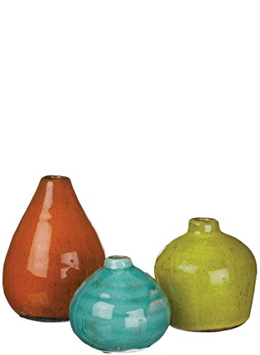 Sullivans Ceramic Vase Set, Various Sizes, Aqua, Orange, Gre