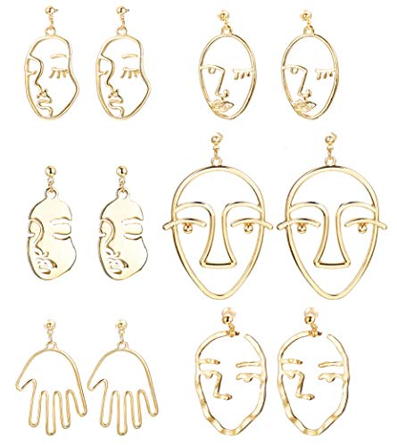 SAILIMUE 6 Pairs Face Hand Earrings Hollow Statement Geometric Fun Dangle Drop Earrings for Women Girls Hypoallergenic Abstract Art Earrings Gold Tone